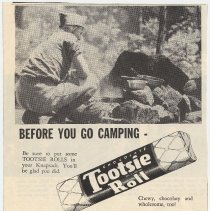 Image of Ad for Tootsie Roll and Boy Scouts. Probably from scouting magazine, Boy's Life, 1948. - Ad, Magazine