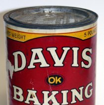 Image of Can: Davis OK Baking Powder. 5 lb. R. B. Davis Company, Hoboken, N.J., n.d., ca. 1930-1940. - Can