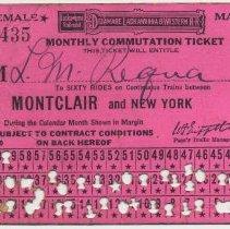 Image of Monthly Commutation Ticket; Aug. 1922; D.L. & W. R.R.; Montclair & New York. - Ticket, Transportation