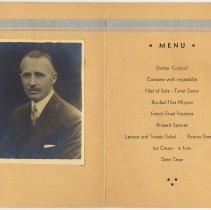 Image of pp [2-3]: tipped-in photo Karl Keller; menu