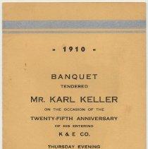Image of Program: Banquet honoring Karl Keller on 25th anniversary at K.&E., Union Club, Hoboken, Dec.5, 1935. - Program