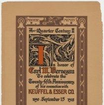 Image of Program: Banquet honoring Carl M. Bernegau on 25th anniversary at K.&E., Odd Fellows Hall, Hoboken, Nov. 16, 1915. - Program