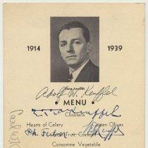 Image of Menu keepsake: Dinner honoring Adoph W. Keuffel  on 25th Anniversary at Keuffel & Esser Co., June 12, 1939. (Union Club, Hoboken.) - Menu