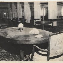 Image of Sepia-tone photo of 1st class dining room of  Leviathan while mothballed in Hoboken, ca. late 1930s- before 1938. - Print, Photographic