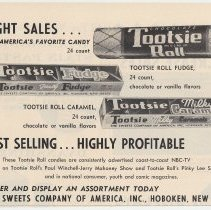 Image of Ad, Tootsie Rolls: Sight Sales... America's Favorite Candy. The Sweets Company of America, Hoboken; in unknown trade publication, 1955. - Ad, Magazine
