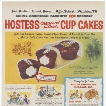 Image of Ad, Hostess Cup Cakes: Hostess Cream Filled Cup Cakes. By Continental Baking Co.; in Life, June 11, 1956. - Ad, Magazine