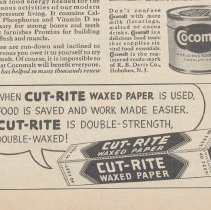 Image of detail bottom Cut-Rite Waxed Paper portion of ad; Cocomalt can