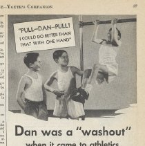 "Image of Ad, Cocomalt: Dan was a ""washout"" when it came to athetics. By R.B. Davis Co., Hoboken; in The American Boy, Feb. 1933 - Ad, Magazine"