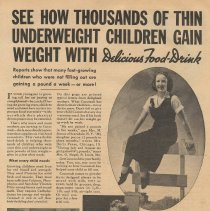 Image of Ad, Cocomalt: See How Thousands of Thin Underweight Children Gain Weight ...Food-Drink. By R.B. Davis Co., Hoboken; in True Story, May 1936 - Ad, Magazine