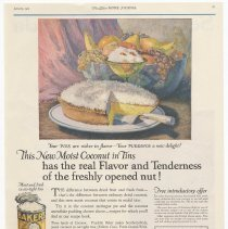 Image of Ad, Baker's Coconut: This New Moist Coconut in Tins... By Franklin Baker Co., Hoboken, N.J.; in LHJ, Jan. 1925. - Ad, Magazine