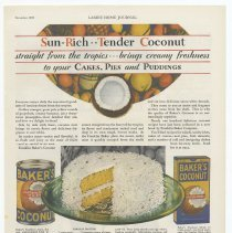 Image of Ad, Baker's Coconut: Sun-Rich Tender Coconut Straight from the tropics.... By Franklin Baker Co, Inc., Hoboken, N.J.; in LHJ, Dec. 1929. - Ad, Magazine