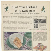 Image of Ad, Baker's Coconut: Trail Your Husband to a Restaurant; You'll Find... By Franklin Baker Co, Inc., General Foods, Hoboken, N.J.; in The Farmer's Wife, June 1930. - Ad, Magazine
