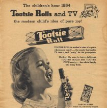 Image of Ad, Tootsie Rolls: ...Tootsie Rolls & TV; the modern child's idea of pure joy! The Sweets Co. of America, Hoboken; in Family Circle, Apr. 1954. - Ad, Magazine