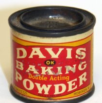 Image of front Davis Baking Powder one ounce sample can