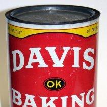 Image of front Davis Baking Powder ten pound can