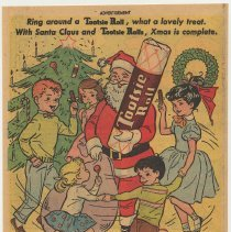 Image of Ad, Tootsie Rolls: Ring around a Tootsie Roll...with Santa Claus... The Sweets Co. of America, Hoboken; in Martin & Lewis, No. 10, DC Comics, Jan. 1954. - Ad, Magazine