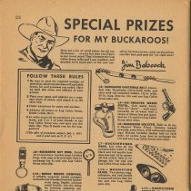 "Image of pg 32: Log Cabin premiums ""Special Prizes for my Buckaroos!"""
