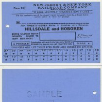 Image of Ticket sample: New Jersey & New York R.R. Monthly Commutation; Hillsdale & Hoboken. N.d., 1961. - Ticket, Transportation