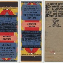 Image of Matchbook cover: Acme Wine & LIquors, Inc., 1200 Washington St., Hoboken. N.d., ca. 1930s-1940s. - Matchbook