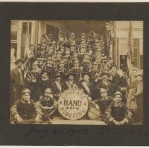 Image of Sepia-tone photo of Lambiase Band of Hoboken, July 26, 1903, St. Ann's Day. (In Hoboken?) - Print, Photographic