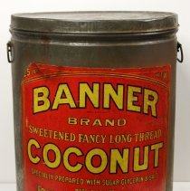 Image of Can: Banner Brand Sweetened Fancy Long Thread Coconut. 25 lbs. Made by Franklin Baker Co. Hoboken, n.d., ca. 1920s. - Can
