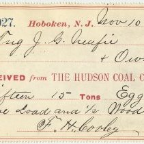 Image of Hudson Coal Co. receipt