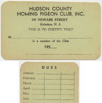 Image of Documents, 3, related to the Hudson County Homing Pigeon Club, Hoboken. V.p., v.d. - Documents