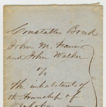 Image of Document: Constable's Bond for John M. Francis, Township of Hoboken, N.J., July 6, 1849. - Documents