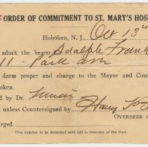 Image of Document: Order of Commitment to St. Mary's Hospital, Hoboken, No. 263, Overseer of the Poor, Oct. 13, 1909. - Form