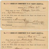 Image of Documents: 4 Orders of Commitment to St. Mary's Hospital, Hoboken, Overseer of the Poor, v.d., 1910 - Form, Order