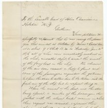 Image of Petition to Board of Police Comm'rs, Hoboken, from Francis J. Goldthwaite, June 1876 re ferry terminal incident & request for dismissal of Officer Hammond. - Documents