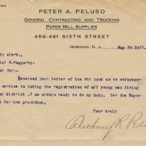 Image of TLS to City Clerk Daniel A. Haggerty from Anthony R. Peluso, May 10, 1917, re volunteering service for draft registration in his district. - Documents