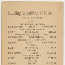 Image of Pocket reference card: Standing Committees of City Council For 1888 - 1890