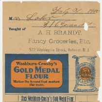 Image of Bill for groceries from A.H. Brandt, Fancy Groceries, Etc., 532 Washington St., Hoboken, July 7(?), 1905. - Bill of Sale