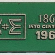 Image of Magnet, K&E Centennial, issued by Keuffel & Esser Co., issued 1967. - Magnet, Advertising