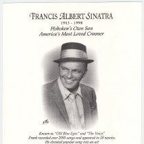 Image of Postal cachet: Francis Albert Sinatra, 'Greetings from Hoboken'; cancellation Frank Sinatra Station, Hoboken, May 16, 2003. - Cachet, Postal