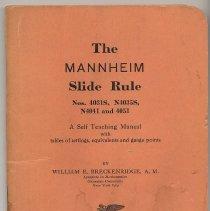 Image of Manual: The Mannheim Slide Rule. A Self Teaching Manual... Breckenridge. K&E, N.Y. & Hoboken, ca. 1938-1939. - Manual, Training