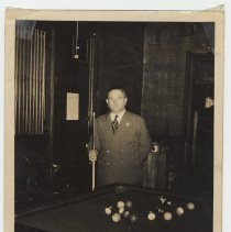 Image of Photos, 2, of Ralph Riccio at his pool hall, 634 Grand St., Hoboken, n.d., ca. late 1930s-early 1940s. - Photograph