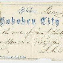 Image of Check: Hoboken City Bank, May 22, 1863, payable to James J. Brinckerhoff for $165.00. - Check, Bank