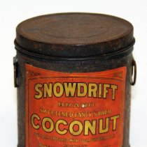 Image of Can, sample: Snowdrift Brand Coconut, 25 Pounds (actual ca. 4oz.); Franklin Baker, Hoboken, n.d., ca. 1925-1940. - Can