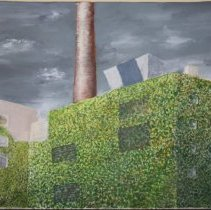 Image of Painting: Maxwell House Coffee plant vine covered buildings, 11th & Hudson Sts., Hoboken, n.d., ca.1975-1995. Artist unknown. - Painting