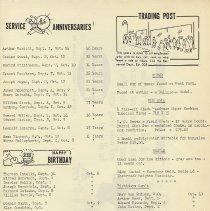 Image of pg 9: service anniversaries; birthdays; obituary