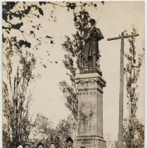 Image of Postcards, 3: [A family posed at Civil War Monument, Hudson Square Park, Hoboken.] N.d., ca. 1907-1918. - Postcard