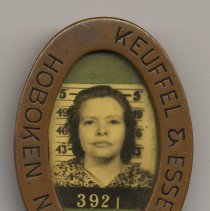 Image of Keuffel & Esser Co., Hoboken, N.J., employee photo identification badge, n.d., ca. 1940-1950. - Badge, Identification