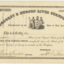 Image of Stock certificate: Hoboken & Hudson River Turnpike Company; 185_; partially issued, ca. 1857-1861. - Certificate, Stock