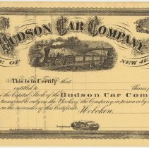 Image of Stock certificate: Hudson Car Company, State of New Jersey, Hoboken, unissued. N.d., not earlier than 1868. - Certificate, Stock