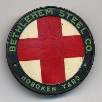 Image of Bethlehem Steel Co. Hoboken Yard 'Red Cross' identification badge. N.d., ca. 1940s. - Badge, Identification