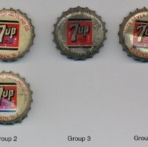 Image of Galler 7-Up caps, groups 1 to 5