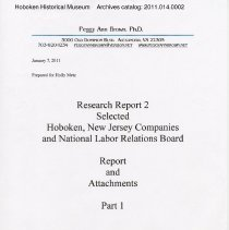 Image of Research Report 2, Parts 1 & 2: Selected Hoboken, N.J. Companies & National Labor Relations Board. (1935-1946). 2011. - Report