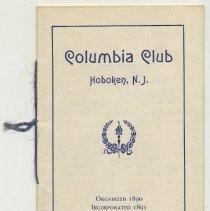Image of Membership directory, Columbia Club, Hoboken, N.J., no date, circa 1895-1910.  - Directory, Membership